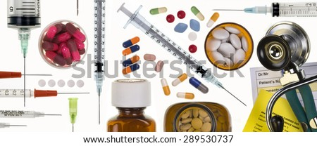 Header panel - Medical subjects - Stethoscope, syringes, needles, pills, tablets and capsules. - stock photo