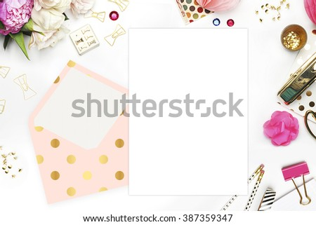 Header website or Hero website, Table view office items, white background mock up, woman desk. Polka gold pattern and blush - stock photo
