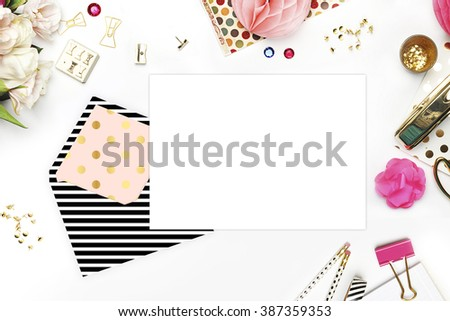 Header website or Hero website, Table view office items, white background mock up, woman desk. Polka gold pattern and black stripe - stock photo
