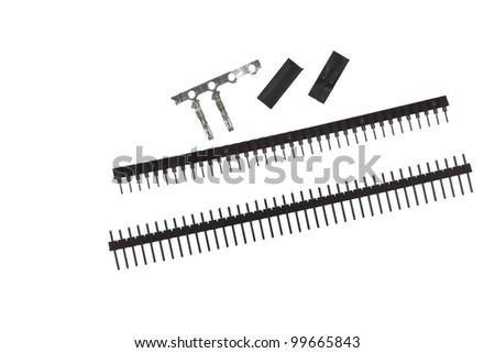 Headers and connectors isolated. For use in diy electronics. - stock photo
