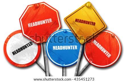 headhunter, 3D rendering, street signs - stock photo
