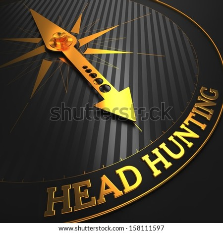 """Headhunting - Business Concept. Golden Compass Needle on a Black Field Pointing to the Word """"Headhunting"""". 3D Render. - stock photo"""