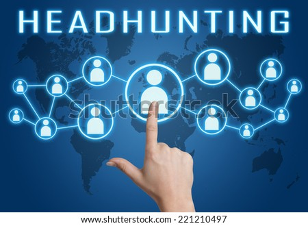 Headhunting concept with hand pressing social icons on blue world map background. - stock photo