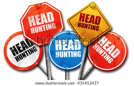 headhunting, 3D rendering, street signs - stock photo