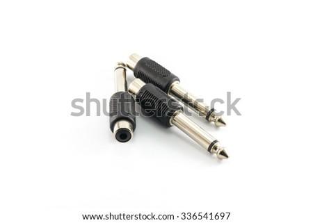 "Headphone jack plug adapter 3.5 mm. stereo plug to 1/4"" on white background - stock photo"