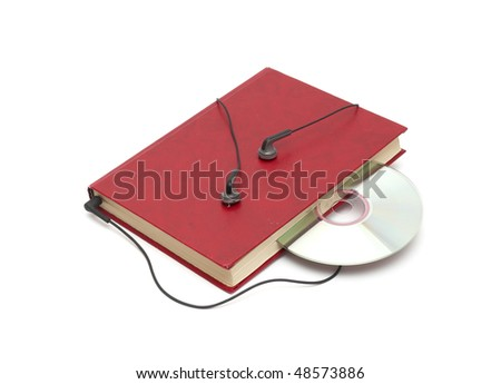 headphones and books (audio book concept) - stock photo