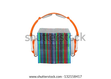 Headphones and box cd's for music - stock photo