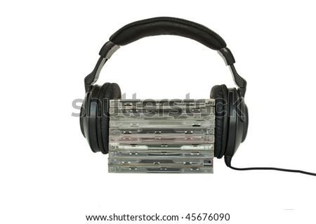Headphones and CD's isolated on white. Love music concept - stock photo