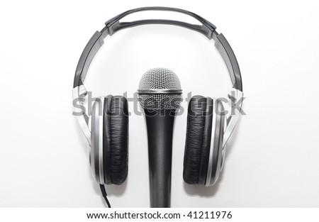 Headphones and microphone - stock photo
