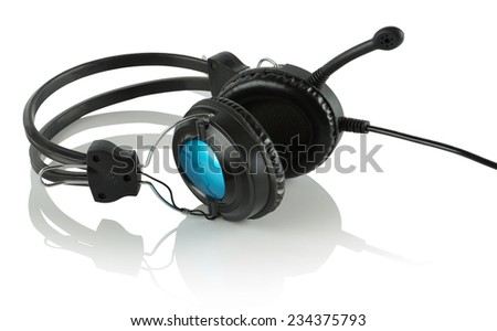 Headphones and microphone, headset against white background - stock photo