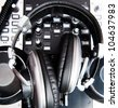 headphones close up in a music console - stock photo