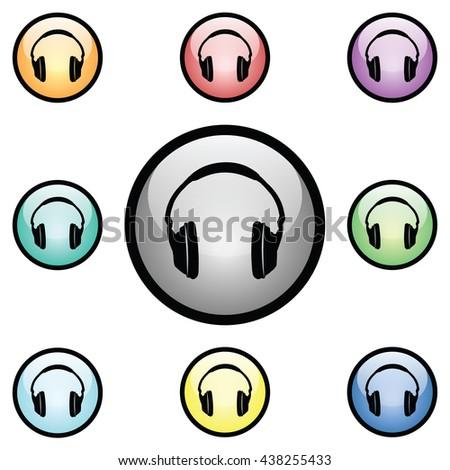 Headphones Icon Glass Button Icon Set.  Raster Version - stock photo