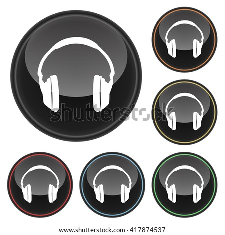Headphones Icon Glossy Button Icon Set in With Various Color Highlights. Raster Version - stock photo