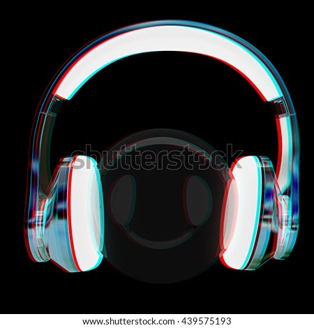 headphones icon on a black background. 3D illustration. Anaglyph. View with red/cyan glasses to see in 3D. - stock photo