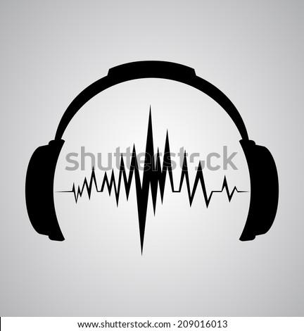 headphones icon with sound wave beats  - stock photo