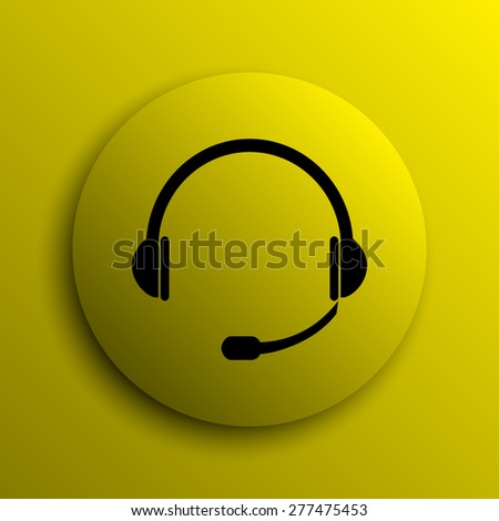 Headphones icon. Yellow internet button.  - stock photo