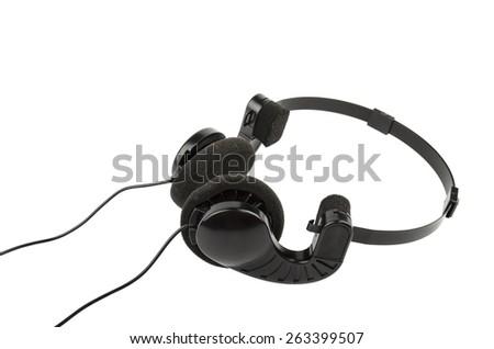 headphones on a white background - stock photo