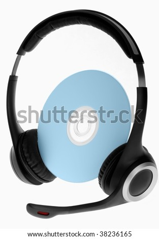 headphones on compact disc isolated on white - stock photo