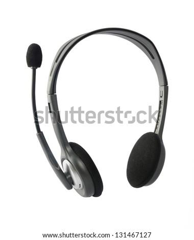 Headphones with Mic - stock photo