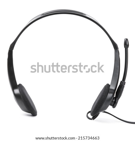 Headphones with mic on white background. - stock photo