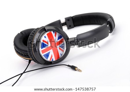 Headphones with Union Jack - stock photo