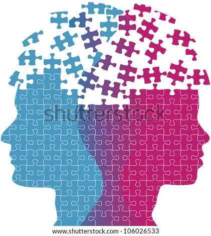 Heads of a woman and man symbol of couple love thought puzzle - stock photo