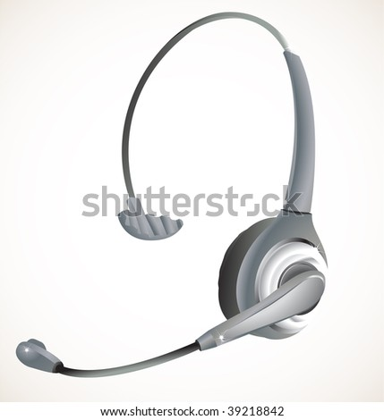 Headset commonly used in a call center environement. - stock photo