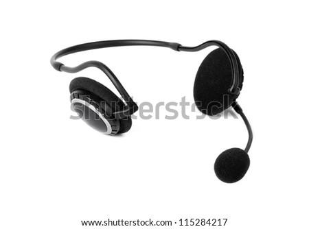 Headset isolated on white background - stock photo