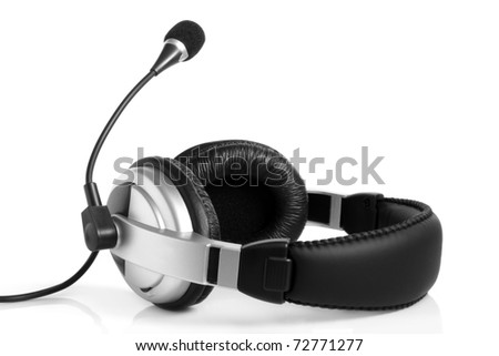 Headset on the white background - stock photo