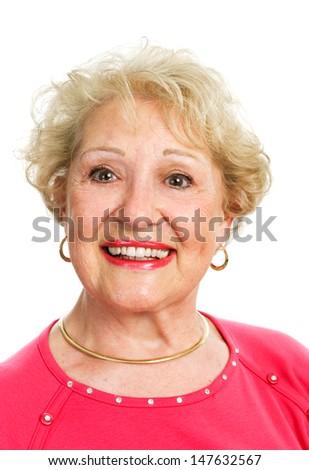 Headshot of a beautiful blond senior lady, isolated on white.   - stock photo