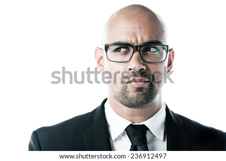 Headshot of a businessman looking to the left isolated on white - stock photo