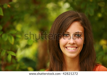 headshot of average looking teen girl - stock photo