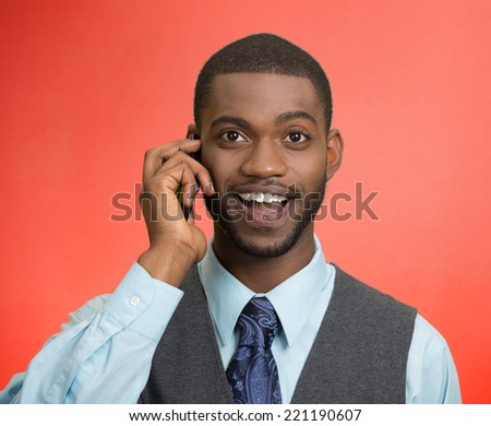 Headshot, portrait happy business man, young guy talking on mobile phone smiling isolated red background. Positive human facial expressions, emotions, feelings, life perception - stock photo