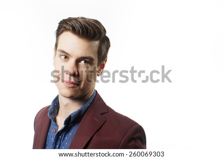 Headshot with handsome man on white background - stock photo