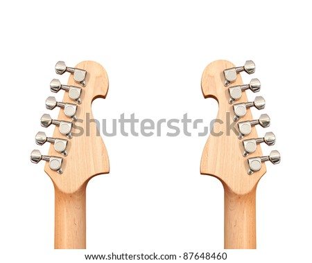 Headstock of the electric guitar on white background - stock photo