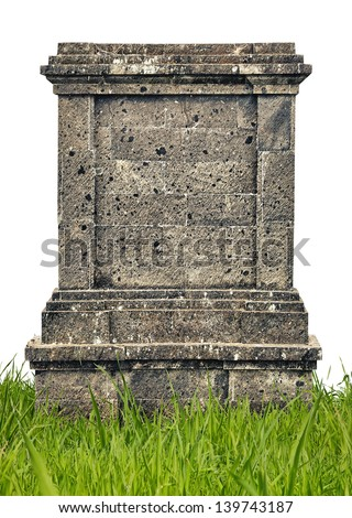 Headstone monument in grass covered with mold on white background - stock photo
