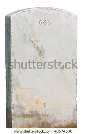 Headstone with evil 666 engraving with clipping path isolated on white background - stock photo