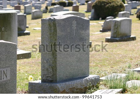 Headstones in a cemetery in New Jersey - stock photo