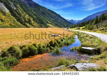 Headwaters Krimml waterfalls. Hillsides picturesque alpine valley covered with thick coniferous forest. Quick stream of clear water flowing in the middle of the canyon - stock photo