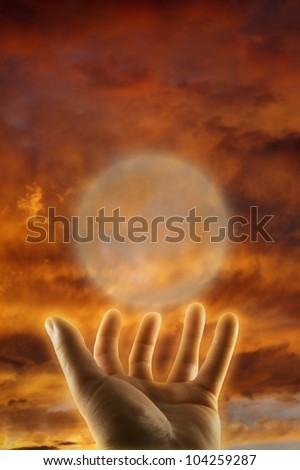 healing hand esoteric concept - stock photo
