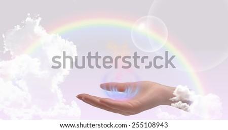 Healing hand website header/banner - stock photo
