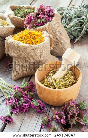 Healing herbs in wooden mortar and in hessian bags, herbal medicine. - stock photo