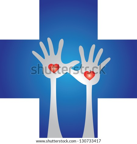 Health Aid, Health Volunteer or First Aid Concept Present by Blue Cross With Raised Hands and Red Heart Inside Isolated on White Background - stock photo