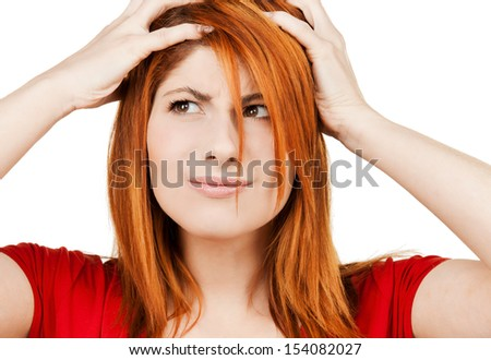 health and beauty concept - young woman looking depressed - stock photo