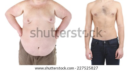 Health and fitness concept. Before and after weight loss by man. - stock photo