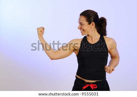 Health and Fitness Woman Self Defense Workout - stock photo