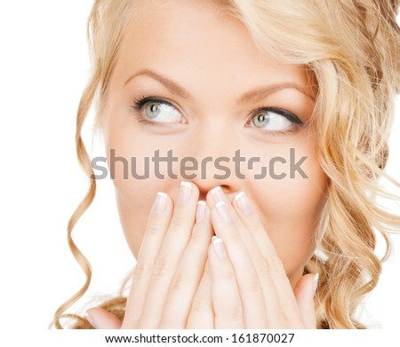 health, beauty, business concept - face of beautiful woman covering her mouth - stock photo
