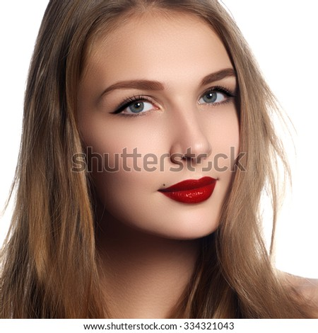 Health, beauty, wellness, haircare, cosmetics and make-up. Beautiful fashion hairstyle. Woman model with shiny straight long hair and evening retro make-up. Red lips - stock photo