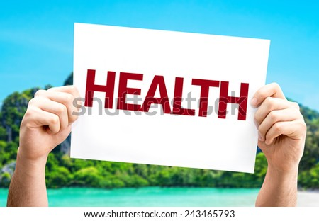 Health card with a beach on background - stock photo