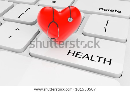 Health Care concept. Extreme closeup red heart with stethoscope on a keyboard - stock photo